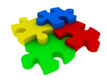 Jigsaw puzzle pieces. Colorful jigsaw pieces isolated on white Stock Images