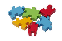 Jigsaw puzzle pieces. Isolated on a white background Stock Photos
