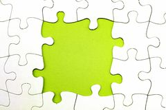 Jigsaw puzzle pieces. Gap in jigsaw puzzle pieces, copy space Royalty Free Stock Photo