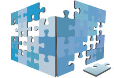 Jigsaw Puzzle pieces 3D solution box. Blue jigsaw Puzzle pieces as sides or walls of 3D solution box and a piece on the floor Stock Image