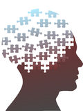 Jigsaw puzzle pieces as mind head of a man. Jigsaw puzzle pieces as the mind in the profile head of the profile of a man royalty free illustration