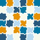 Jigsaw puzzle pieces background vector in shades of blue, orange. And bright yellow with white space between each puzzle piece Royalty Free Stock Photos