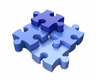 Jigsaw Puzzle Pieces Blue. Four Jigsaw Puzzle Pieces Blue on White Background Royalty Free Stock Photo