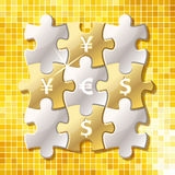 Jigsaw puzzle pieces with currency symbol. In words of yes Royalty Free Stock Image
