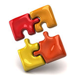 Jigsaw puzzle pieces. 3d illustration of jigsaw puzzle pieces Royalty Free Stock Photos