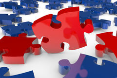 Jigsaw puzzle pieces falling Stock Photos