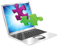 Jigsaw puzzle pieces flying out of laptop computer royalty free illustration