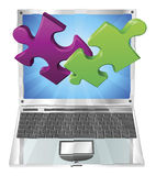 Jigsaw puzzle pieces flying out of laptop computer stock illustration