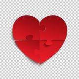 Jigsaw puzzle pieces in form of red heart. Royalty Free Stock Photo