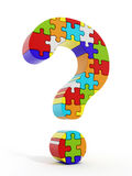 Jigsaw puzzle pieces forming a question mark Royalty Free Stock Images