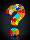 Jigsaw puzzle pieces forming a question mark Royalty Free Stock Photography