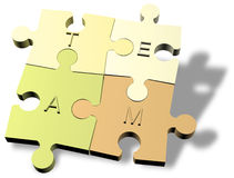 Jigsaw puzzle pieces forming a team Royalty Free Stock Image