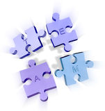 Jigsaw puzzle pieces forming a team Stock Photography