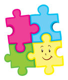 Jigsaw puzzle pieces with happy face Stock Photos