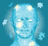Jigsaw puzzle pieces head. Jigsaw puzzle pieces forming a human head. Conceptual piece royalty free illustration