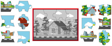 Jigsaw puzzle pieces of house on the street stock illustration