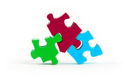 Jigsaw puzzle pieces isolated. On a white background royalty free illustration