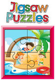 Jigsaw puzzle pieces of kids on the beach Stock Photo
