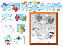 Jigsaw puzzle pieces of kids flying with balloons Stock Photo