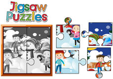 Jigsaw puzzle pieces of kids playing with snowman. Illustration Stock Photos