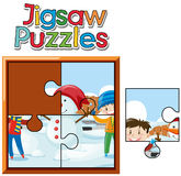 Jigsaw puzzle pieces of kids and snowman. Illustration Stock Image