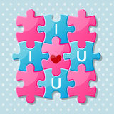 Jigsaw puzzle pieces with words I love you Royalty Free Stock Photography