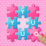 Jigsaw puzzle pieces with words you Royalty Free Stock Photos