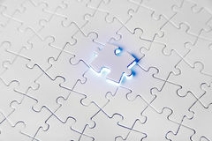Jigsaw Puzzle. Pieces on the yellow background Royalty Free Stock Photo