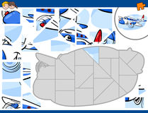 Jigsaw puzzle with plane Stock Photo