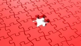 Jigsaw puzzle red blank Stock Photo