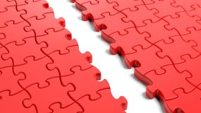 Jigsaw puzzle, red blank Royalty Free Stock Photography
