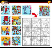 Jigsaw puzzle with robots stock illustration