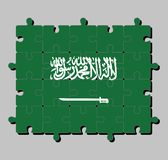 Jigsaw puzzle of Saudi Arabia flag in a green field with the Shahada or Muslim creed written in the Thuluth script above a saber. vector illustration