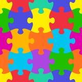 Jigsaw puzzle seamless pattern Stock Photography
