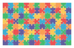 Jigsaw puzzle set of 104 colorful pieces. In vector Stock Image