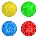 Jigsaw puzzle set form of spheres  four colors Stock Image