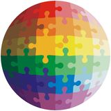Jigsaw puzzle shape of a ball,  colors  rainbow Stock Photography
