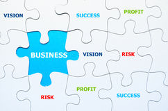 Jigsaw puzzle showing business content Stock Photos