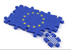 Jigsaw puzzle showing the europen union flag without Greece Royalty Free Stock Photos