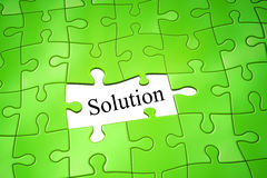 Jigsaw puzzle solution. An image of a green jigsaw puzzle solution Stock Image