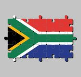 Jigsaw puzzle of South Africa flag in red and blue with a black triangle, white and green horizontal Y. stock illustration