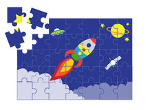 Jigsaw puzzle space cartoon games, illustrations Royalty Free Stock Image