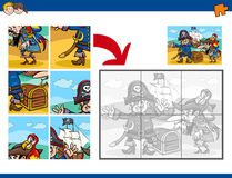 Jigsaw puzzle task with pirates Stock Images