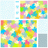 Jigsaw puzzle templates. Jigsaw puzzle blank templates and pastel colors patterns with hand-cut style guidelines, resembling wooden and antique jigsaw puzzles Royalty Free Stock Photos