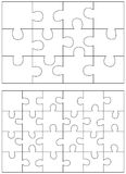 Jigsaw Puzzle Templates. Set of puzzle 12, 24. On white Stock Photos