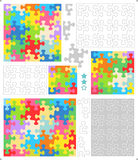 Jigsaw puzzle templates, whimsically shaped pieces stock image