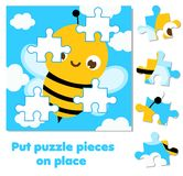 Jigsaw puzzle for toddlers. Match pieces and complete picture of cute bee. Educational game for children and kids. Jigsaw puzzle for toddlers. Match pieces and royalty free illustration