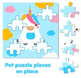 Jigsaw puzzle for toddlers. Match pieces and complete picture. cute unicorn. Educational game for children and kids. Jigsaw puzzle for toddlers. Match pieces vector illustration