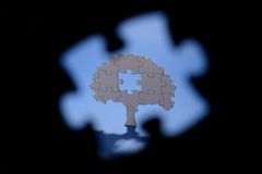 Jigsaw puzzle tree trough puzzle shape Stock Photos