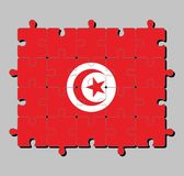 Jigsaw puzzle of Tunisia flag in red and white flag with star and crescent in center. Concept of Fulfillment or perfection vector illustration